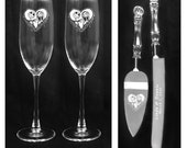 Nightmare Before Christmas set of wedding glasses and knife set custom personalized free shipping