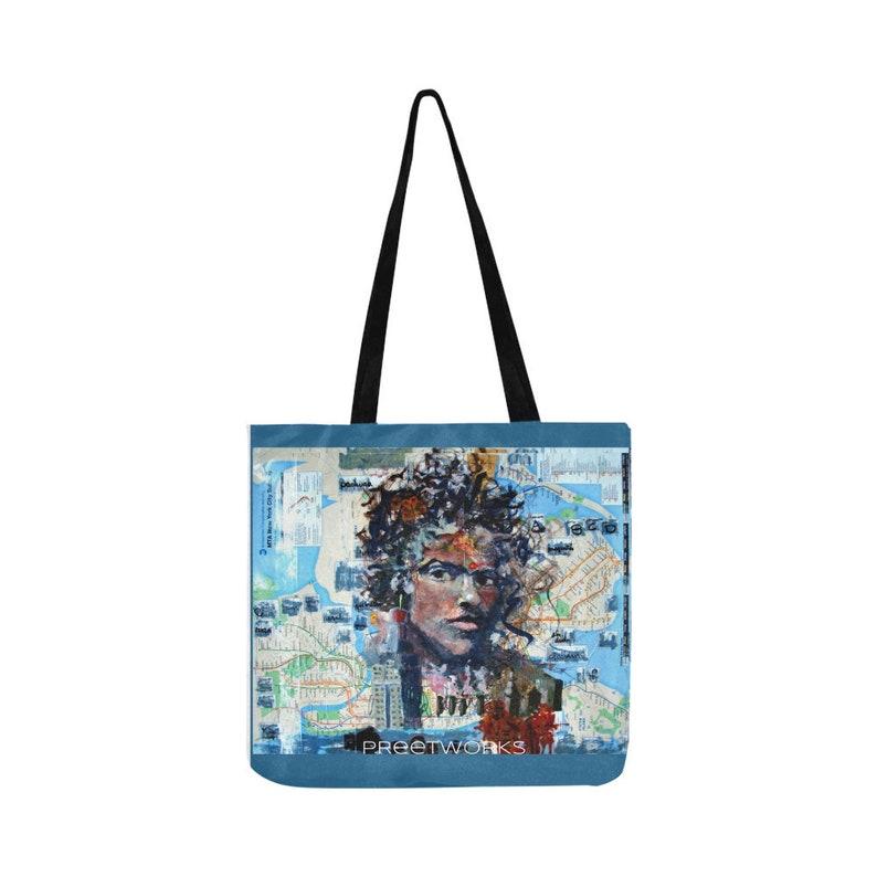oil painting New York NYC subway map beach bag Tote Bag oil painting original art by Preet Srivastava Indian Artwork shopping bag