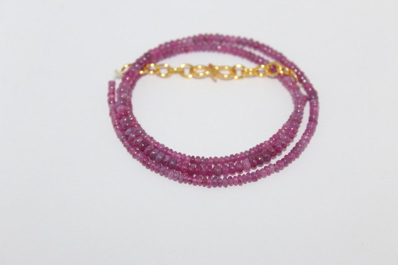 Natural johnson ruby smooth beads necklace,3x2mm johnson ruby smooth rondelle beads necklace:1