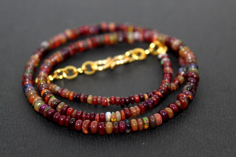 Natural Ethiopian welo opal brown smooth  4-2 MM beads necklace wello fire opal beads necklace:-bo1 fire opal rondelle necklace