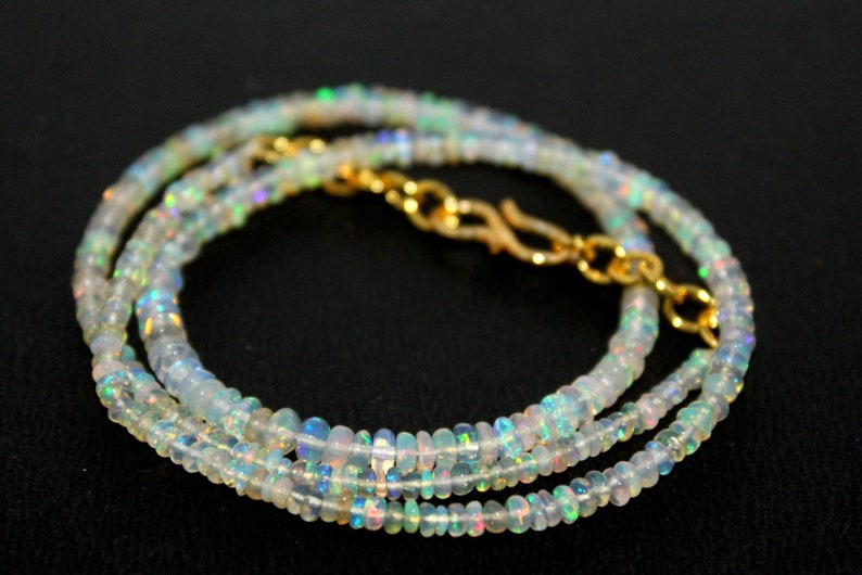 fire opal rondelle necklace Natural  Ethiopian welo  opal smooth 2-4 MM beads necklace wello fire opal beads necklace: on8