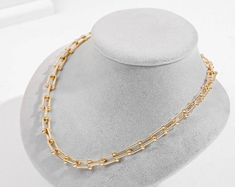 Giorgio Bergamo Gold Plated Trendy U Link Hardwear Buckle Drop Link Earring