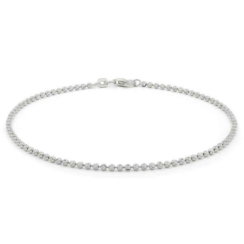 FREE Microfiber Cloth Rhodium Solid Link Necklace Giorgio Bergamo 925 Italian Sterling Silver 2mm Ball Bead Moon Cut Bracelet