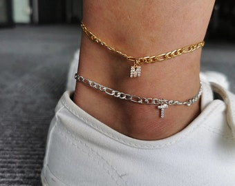 Stainless Steel Gold Plated 4mm Figaro Link Anklet, Initial A - Z Cubic Zirconia Letter Ankle Bracelet, Giorgio Bergamo