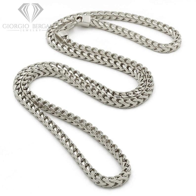 Rhodium Plated Square Box Link Necklace 16-30 Giorgio... FREE Microfiber Cloth 925 Italian Sterling Silver 3.5mm Solid Franco Chain