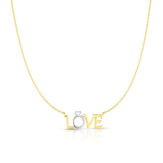 14kt Gold Two-Tone Love Pendant Necklace