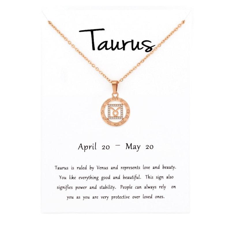 Astrology Horoscope Stainless Steel Gold Plated Taurus Zodiac Constellation Cubic Zirconia Amulet Disc Pendant Necklace Giorgio Bergamo