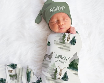 Baby Boy Swaddle Blanket Hat Set -Custom Baby Shower Gift Hospital Name Announcement -Personalized Baby Boy Blanket with deer -Woodland Baby