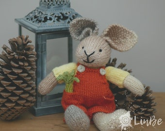 Knitted Rabbit in dungarees with celery stick