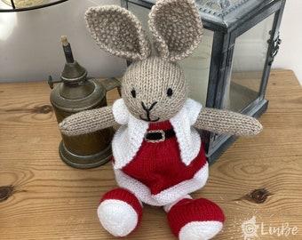 Knitted Rabbit in Christmas Santa Dress