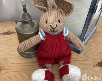 Knitted Rabbit  in Red Dungarees and Trainers