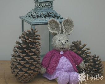 Knitted Rabbit  in mauve dress