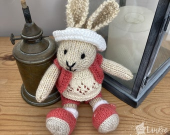 Knitted Rabbit in Coral and Lemon Outfit