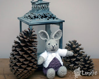 Small Knitted Rabbit in purple dress