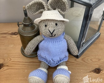 Knitted Rabbit in Blue Dress and Hat