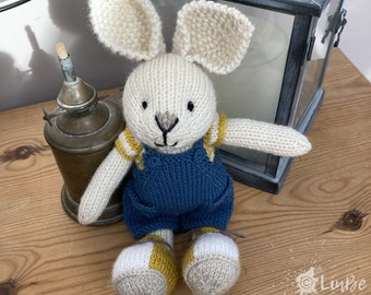 Knitted Bunny in Blue Dungarees
