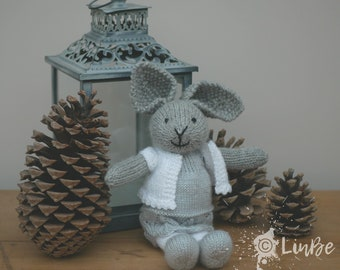 Knitted Rabbit in silver lace hem dress