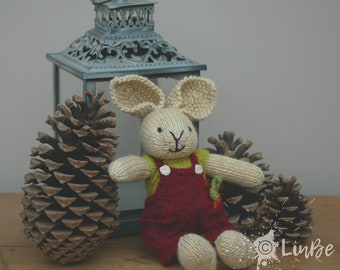 Knitted Rabbit in dark red Dungarees