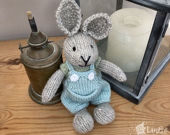 Knitted Rabbit in Duck Egg Blue Dungarees