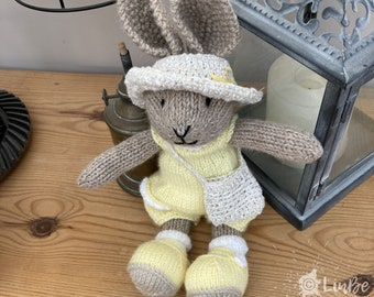 Knitted Rabbit in Yellow Play Suit