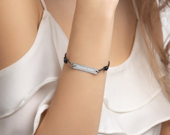 Sincerely, Jesus - Engraved Silver Bar String Bracelet