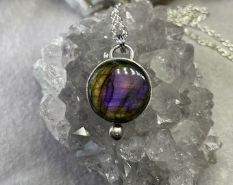 Purple labradorite and antiqued sterling silver pendant Out of a treasure chest Pink labradorite pendant. Purple labradorite pendant