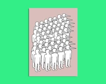 Dudes on pink - A5 mini print