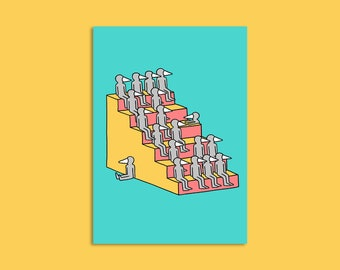 Dudes on stairs - Illustrated A3 print