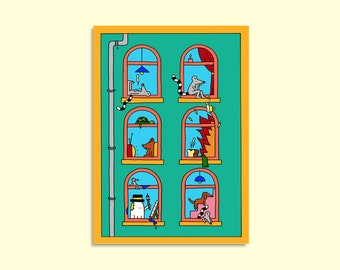Lockdown Loozle and the homeboys - Illustrated A3 print