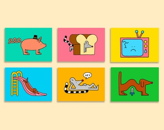 Set of 6 illustrated postcards - A6 size