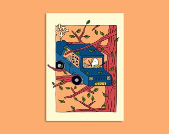 Car in a tree - Illustrated A3 print