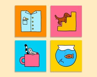 Set of 4 illustrated postcards