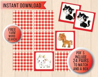 Vocabulary BuilderWord Match up Game Farm Animals Edition