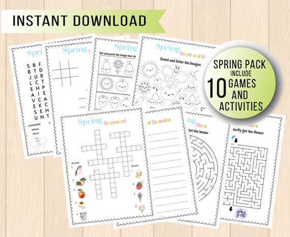 Spring Activity Pack for kids include games