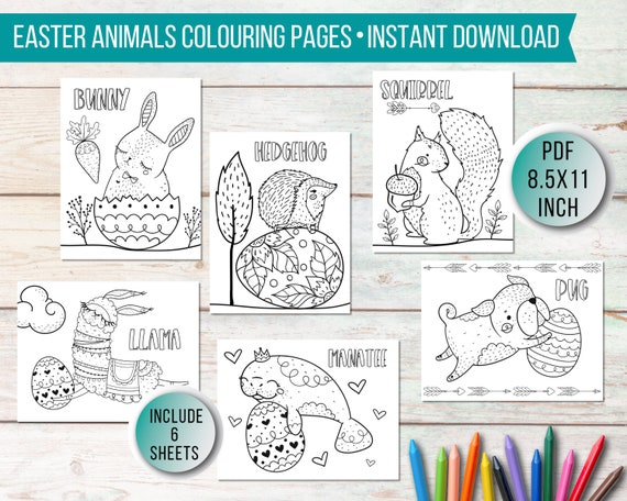 Easter Animals Colouring Pages for Kids  Printable Easter