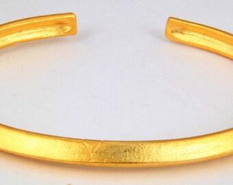 Matt Gold Plated Brass Bracelet Adjustable Matt Gold Plated Organic Shape Adjustable Bracelet Inner Size 64mm