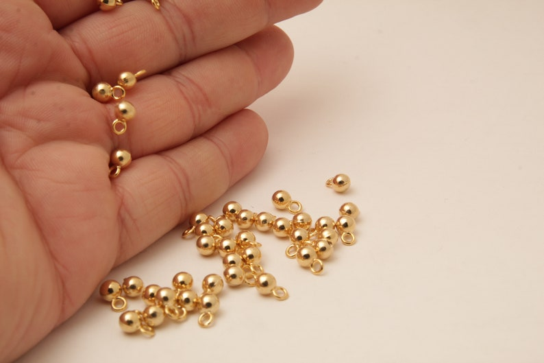 Shiny Gold Plated Sphere,Charm,5mm,SM-202217-1 Sphere Shiny Gold Plated