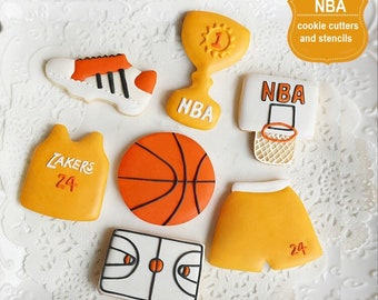 60049689353 NBA Lakers Basketball Court Hoop Jersey Stencil Stainless Steel Cookie  Cutter Set Professional DIY Cookies Candy Dessert Decoration Tools