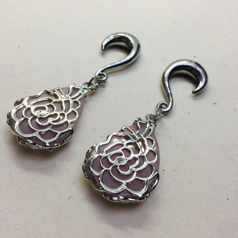 Rose Pink Amethyst Stone Teardrop Silver Surgical Steel Ear Weights 8mm