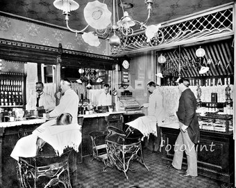 Vintage BARBER SHOP Photo Picture SCOTTS RUN WV BARBERSHOP 8x10 11x14 or 16x20