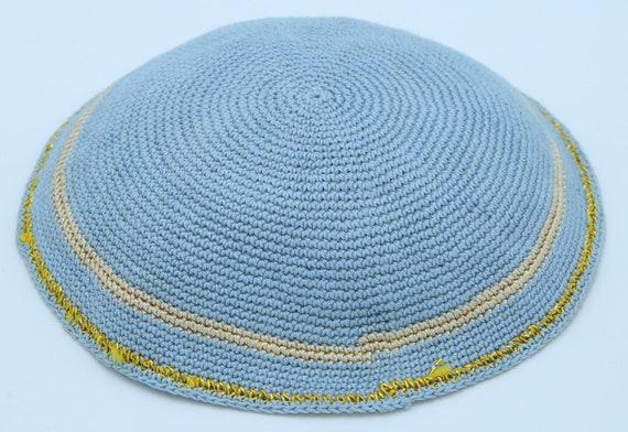 KippaCo Hand Knitted Yarmulke, Knitted Kippah Hat 15.7 Cm/6.2 Inc 009- Hand Knitted Kippah, Kippah. 100% Cotton,Bar Mitzvah Kippah, Wedding