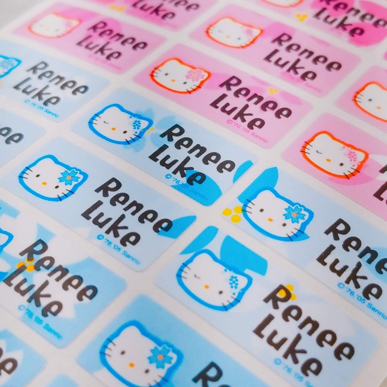 Baby Name Labels Personalize Kid Sticker, Waterproof Name Label Daycare  Supplies Custom Label Dishwasher Safe Girl School Labels Hello Kitty