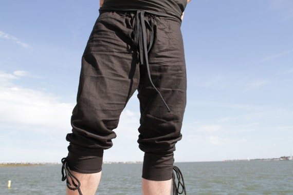 Medieval-Pirate-Buccaneer-LARP-Mens-BLUE LINEN DRAWSTRING TROUSERS All sizes