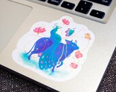 Blue Cow and Peacock   Semiclear Waterproof Sticker   Watercolour Illustration