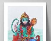 Hanuman - Print - Meditation poster -  Yoga gift - Giclée Archival Print - Spiritual wall art - Watercolor painting