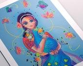 Radha Giclee Fine Art Print - Girl, flowers and peacock print - Spiritual wall art - Fine Art Print