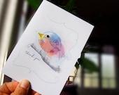 Thank You Card   Bird Greeting Card   Blank Inside Card