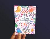 Colourful happy Birthday Card -  Foil option