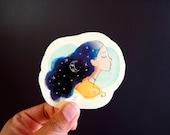 Moon Girl Semiclear Sticker   Watercolour Illustration