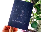 Moon & stars -  Greeting Card - Blue card - Cute stationary - Line drawing